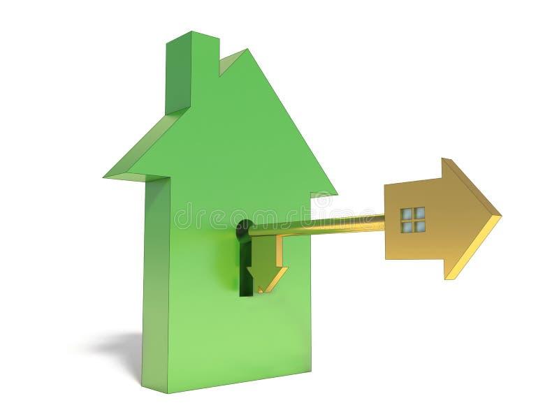 房子的标志和黏附钥匙 皇族释放例证