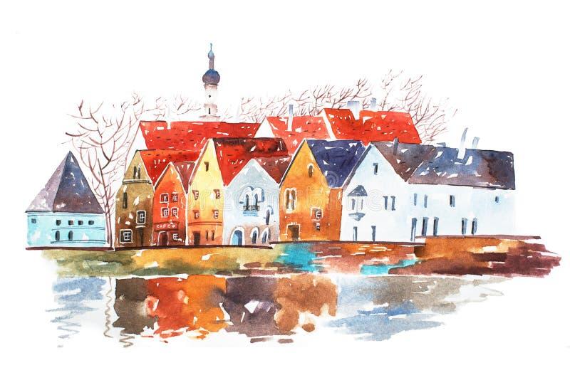 房子的水彩例证有传统欧洲建筑特点的 皇族释放例证