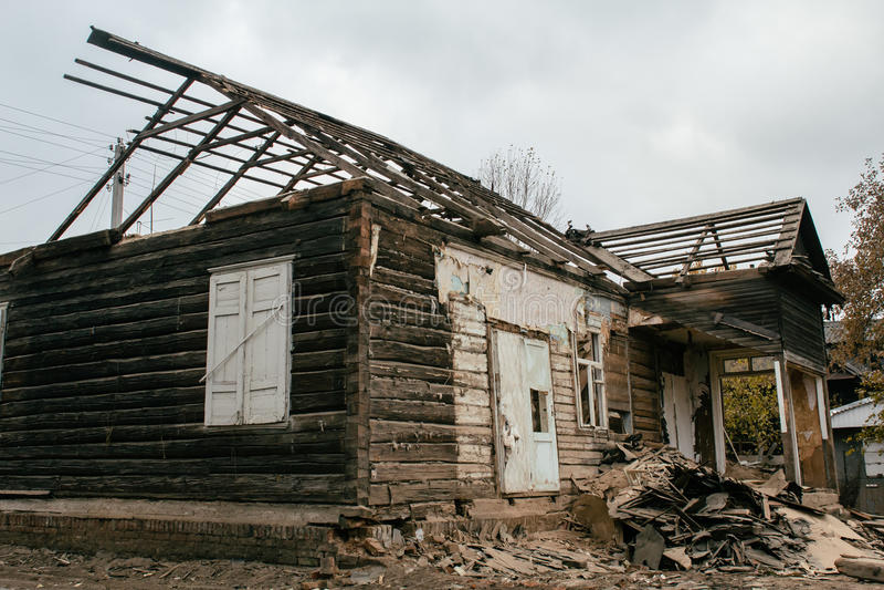 房子的爆破 图库摄影