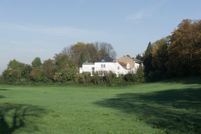 房子的看法,浸没在绿叶 库存照片