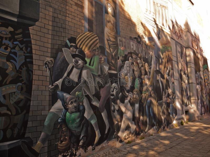 房子的被绘的墙壁,哈雷,德国 图库摄影
