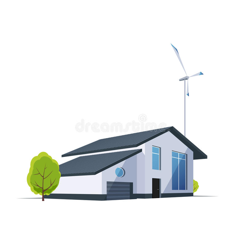 房子的透视有风轮机的在背景 绿色能量现代大厦 皇族释放例证