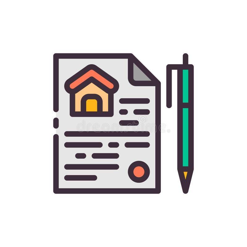 房子的销售的合同 传染媒介颜色象 向量例证