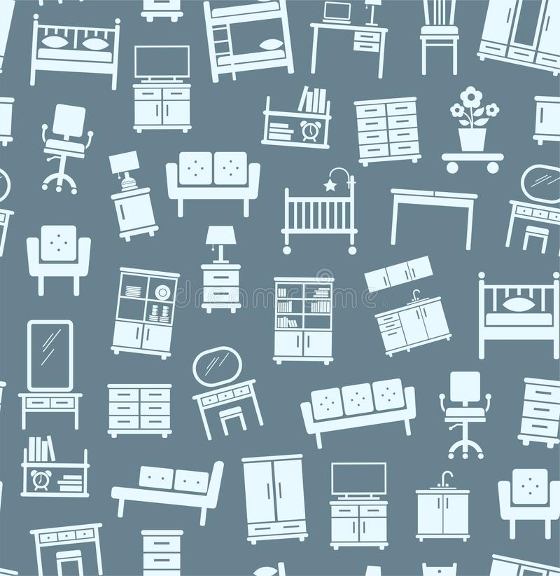 房子的,背景家具,无缝,灰色,黑暗 库存例证