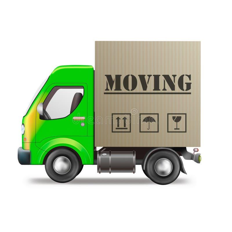 房子移动拆迁卡车有篷货车 向量例证