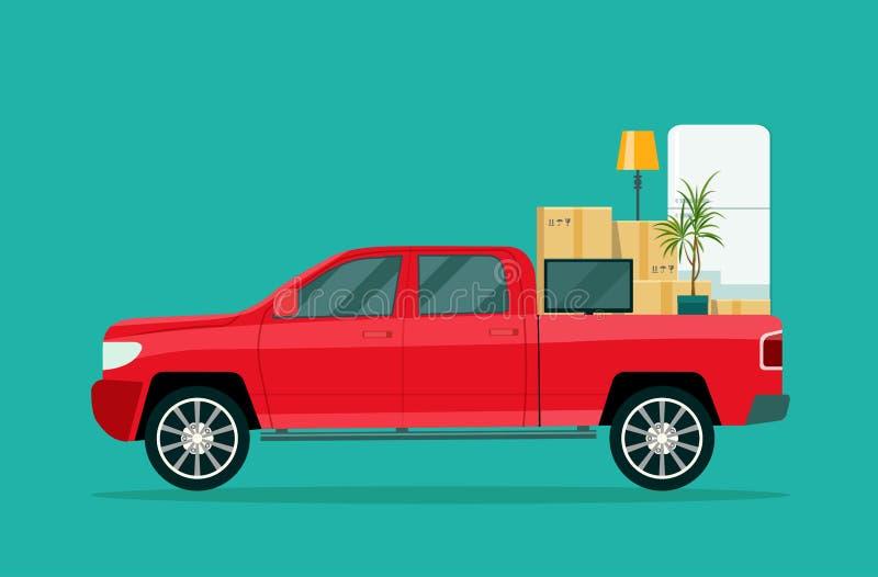 房子移动 有纸板箱和家具的卡车 皇族释放例证