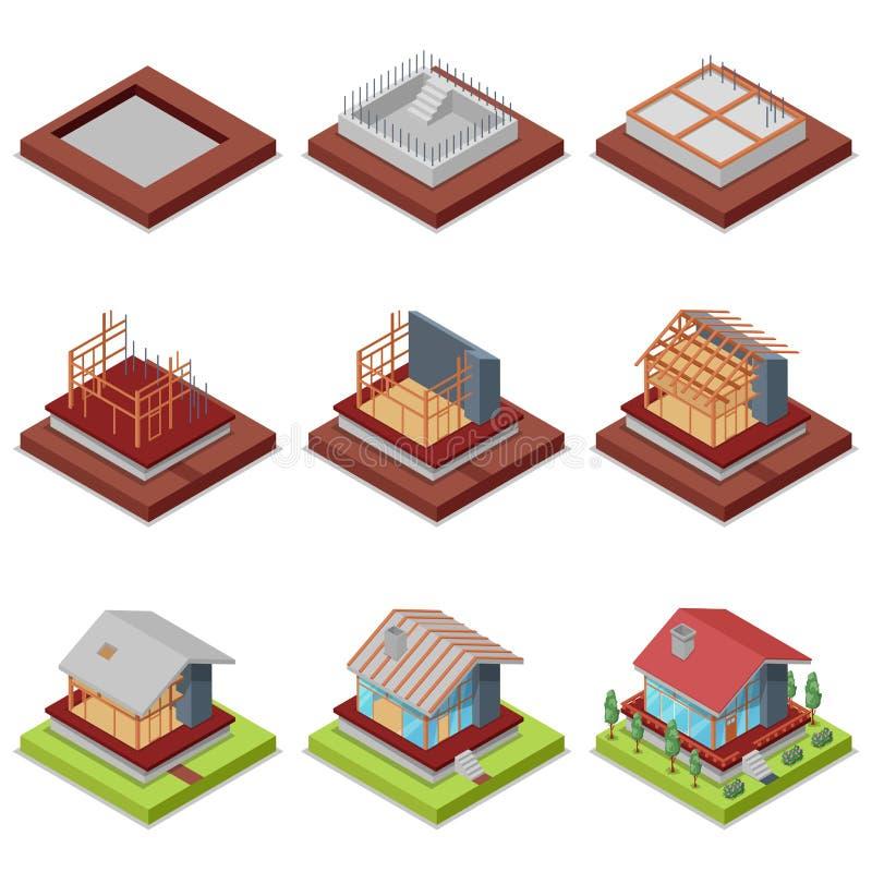 房子等量3D集合建筑阶段  向量例证