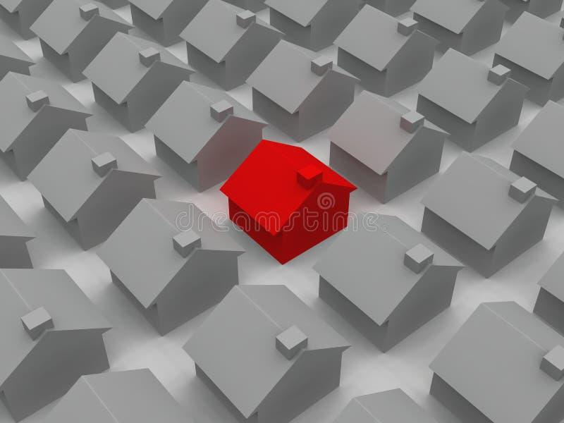 房子红色 库存例证