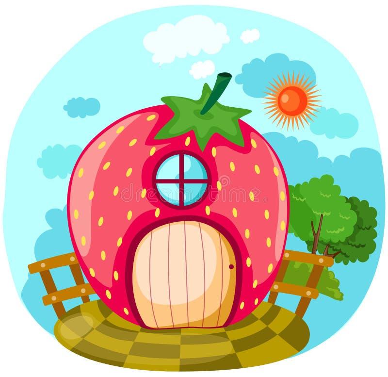 房子草莓 向量例证