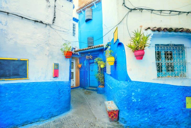 房子蓝色墙壁有五颜六色的花盆的在舍夫沙万 它由它的Mogador的葡萄牙名字也知道 免版税库存图片