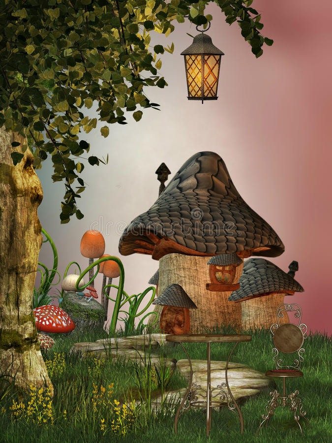 房子蘑菇 向量例证