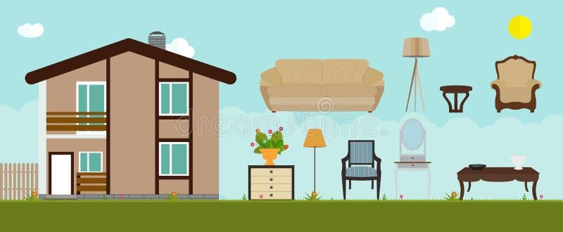 房子装备与家具 现代平的样式传染媒介 向量例证