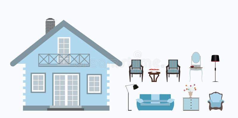 房子装备与家具 现代平的样式传染媒介 库存例证