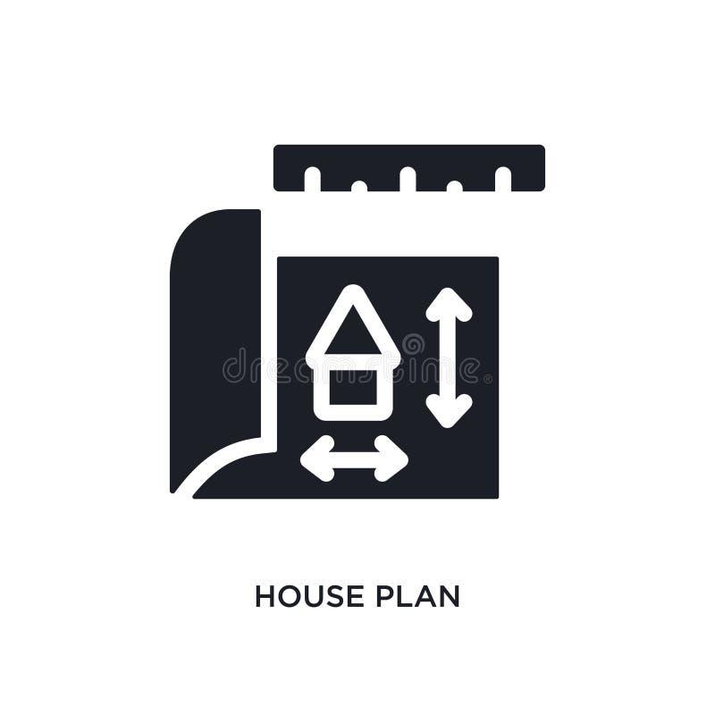 房子计划被隔绝的象 从建筑概念象的简单的元素例证 房子计划编辑可能的商标标志标志设计 库存例证