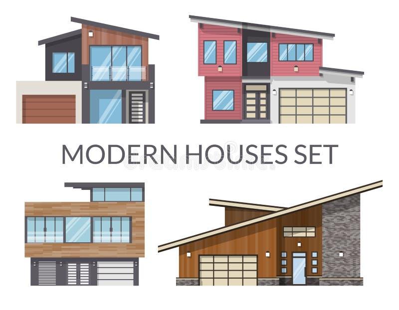 房子设置的现代家庭,房地产签到平的样式 皇族释放例证