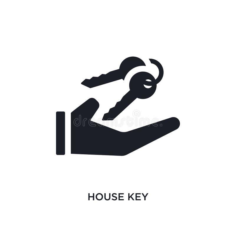 房子钥匙被隔绝的象 从不动产概念象的简单的元素例证 房子钥匙编辑可能的商标标志标志设计  向量例证