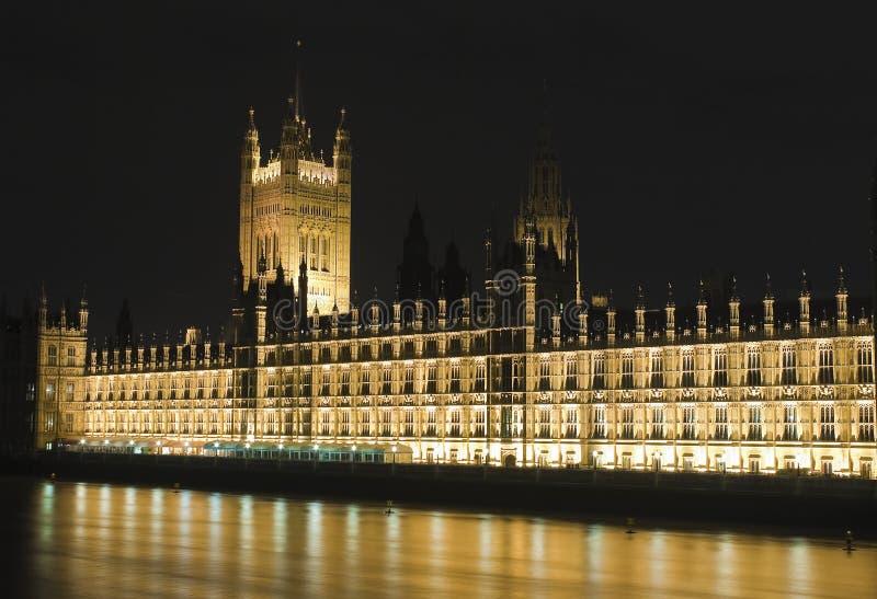 房子阐明了晚上议会 图库摄影