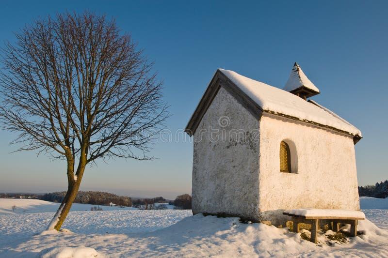 房子雪结构树 免版税库存照片