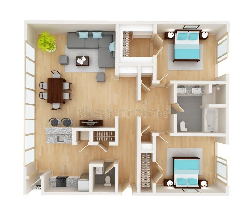 房子顶视图的楼面布置图 库存图片
