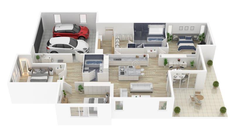 房子顶视图3D例证的楼面布置图 向量例证