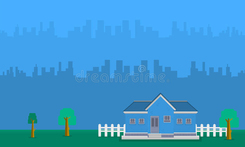 房子风景有大厦的 库存例证