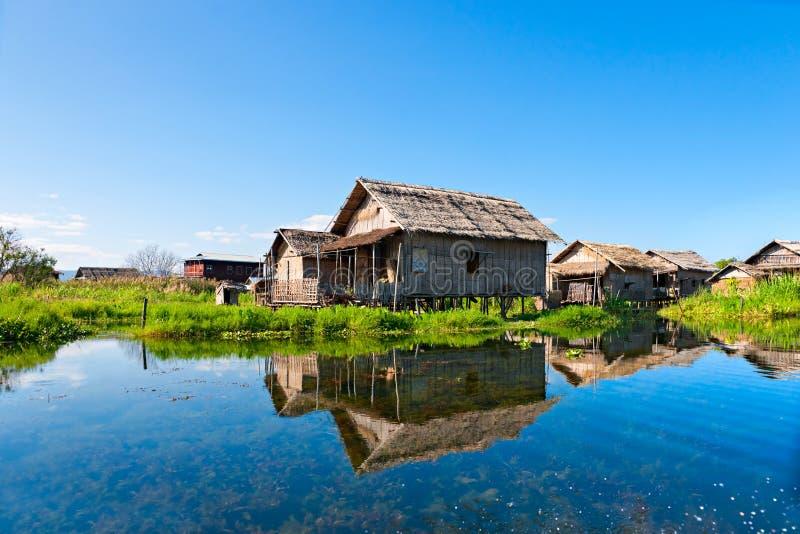 房子inle湖缅甸 免版税库存照片