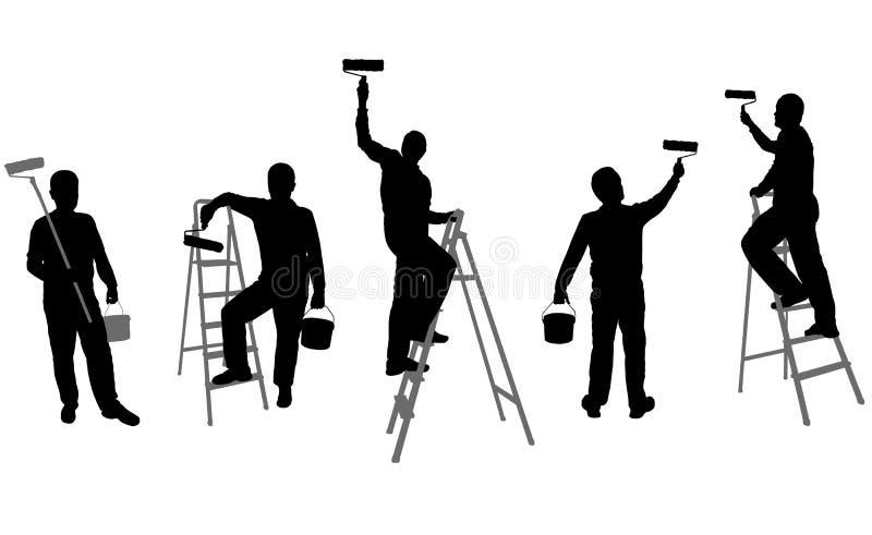 房屋油漆工剪影 向量例证
