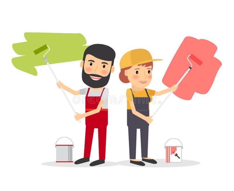房屋油漆工工作者夫妇  向量例证