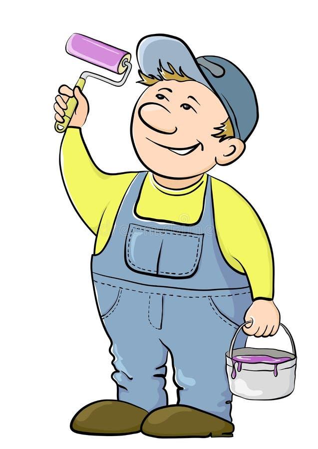 房屋油漆工工作者 向量例证