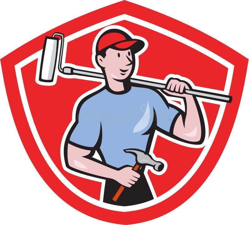 房屋油漆工漆滚筒盾动画片 库存例证
