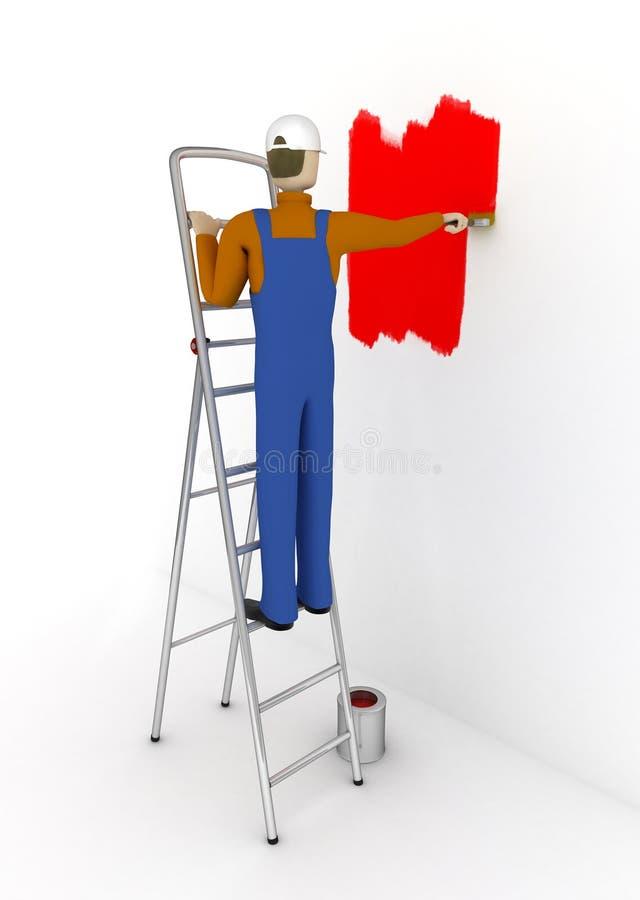 房屋油漆工 向量例证