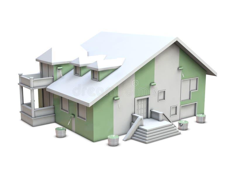 房屋涂料路辗 向量例证