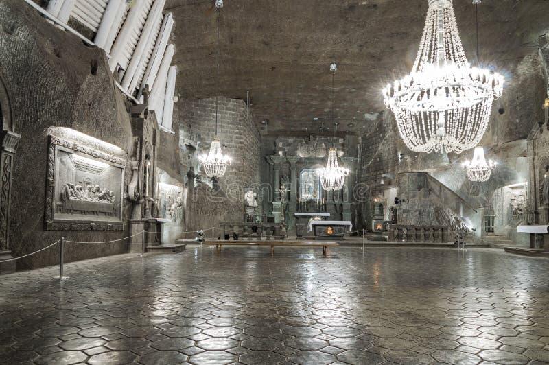 房间在盐矿在维利奇卡,波兰 免版税图库摄影