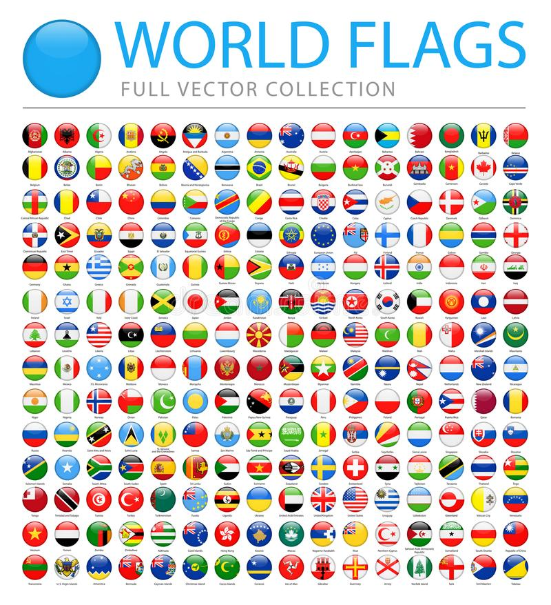 所有世界下垂-国家和疆土新的另外的名单-传染媒介圆的光滑的象 皇族释放例证