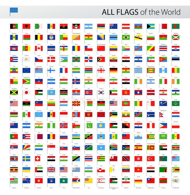 所有世界传染媒介旗子别针-汇集 向量例证