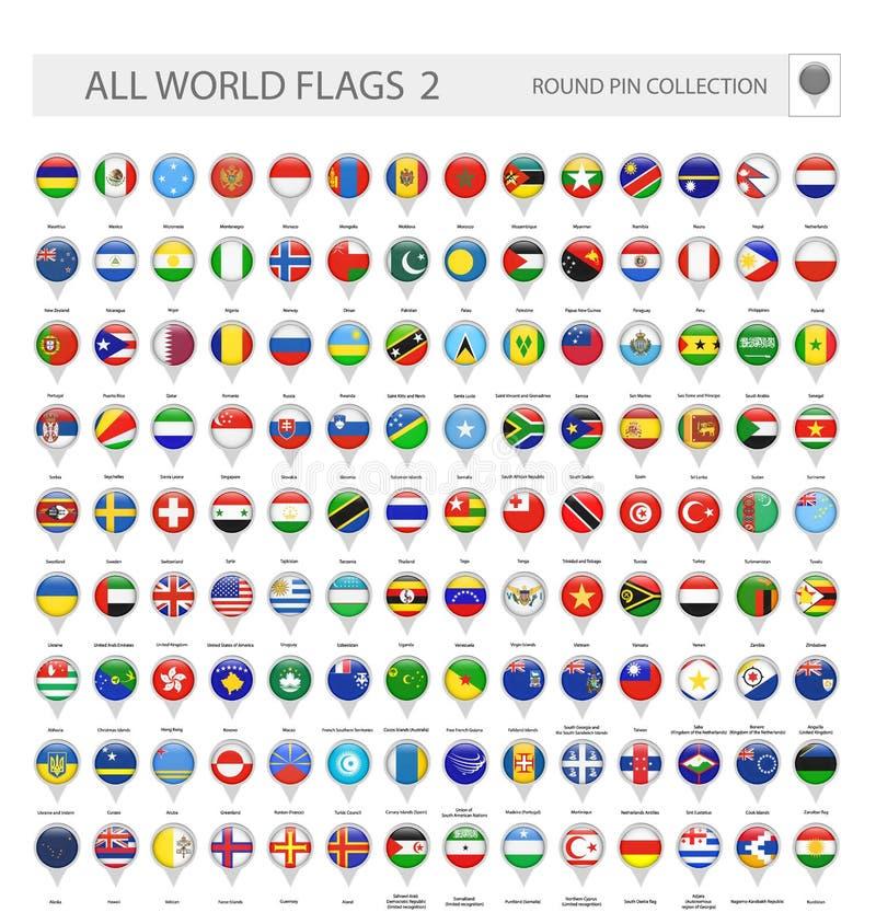 所有世界旗子圆的Pin象  第2.部分 库存例证