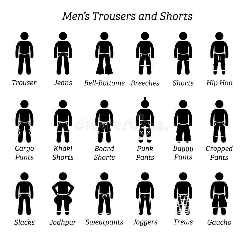 所有人长裤,气喘和短缺设计 向量例证