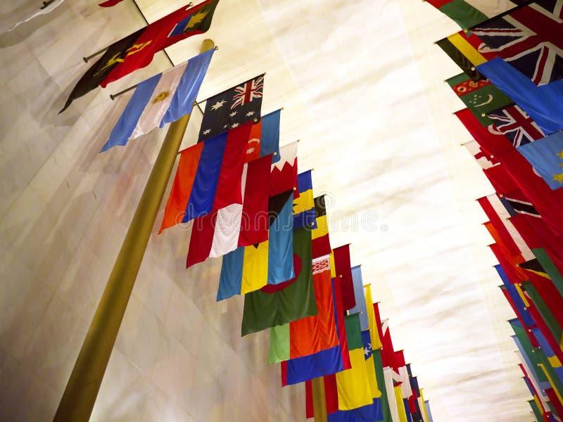 所有国家旗子约翰・肯尼迪艺术的在华盛顿特区美国集中 库存图片
