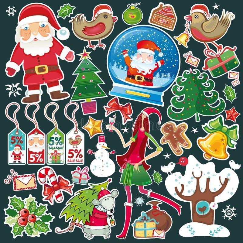 所有圣诞节一集合符号 库存例证