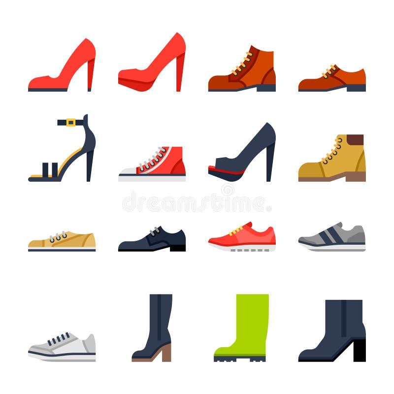 所有场合的鞋类 鞋子,运动鞋,起动 向量例证