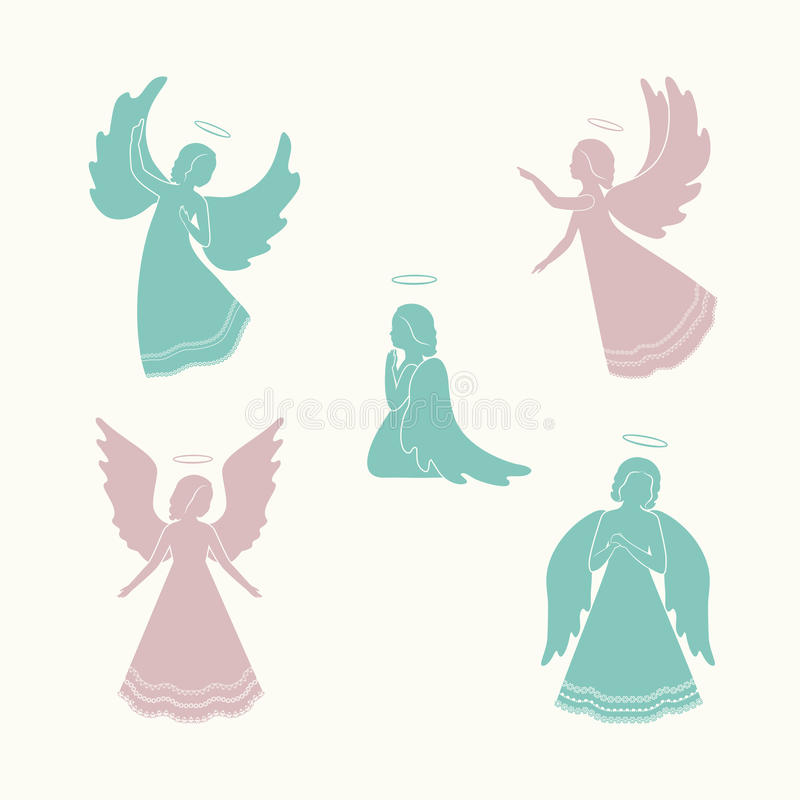 所有天使所有圣诞节要素例证各自的对象称范围纹理导航 皇族释放例证