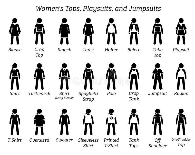 所有妇女冠上, playsuits和连衫裤设计 库存例证