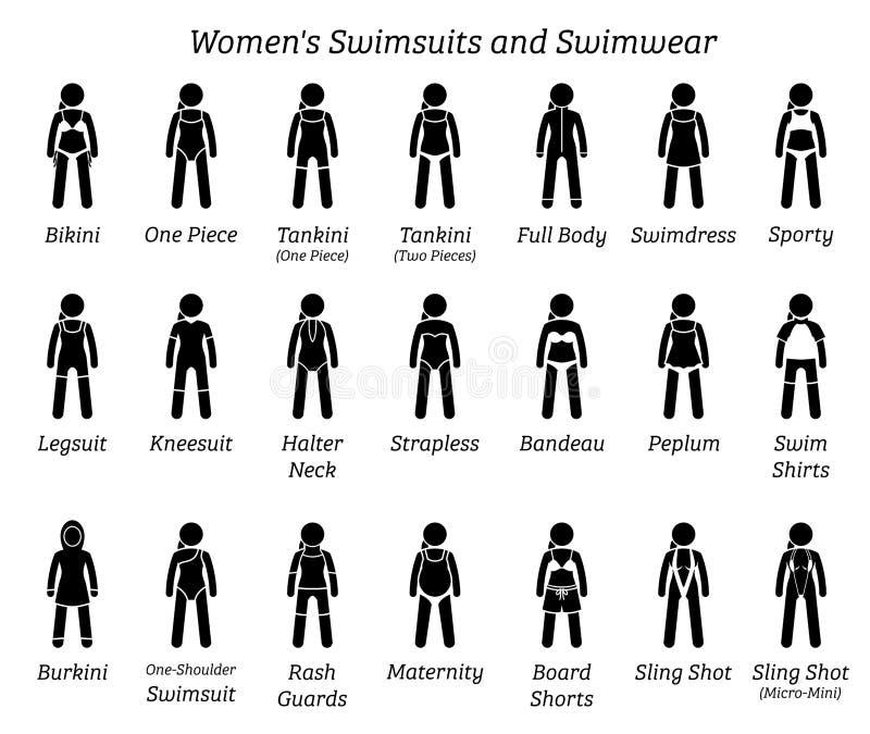 所有妇女泳装和游泳衣设计 向量例证