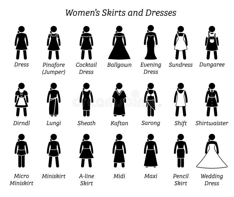 所有妇女裙子和礼服设计 库存例证