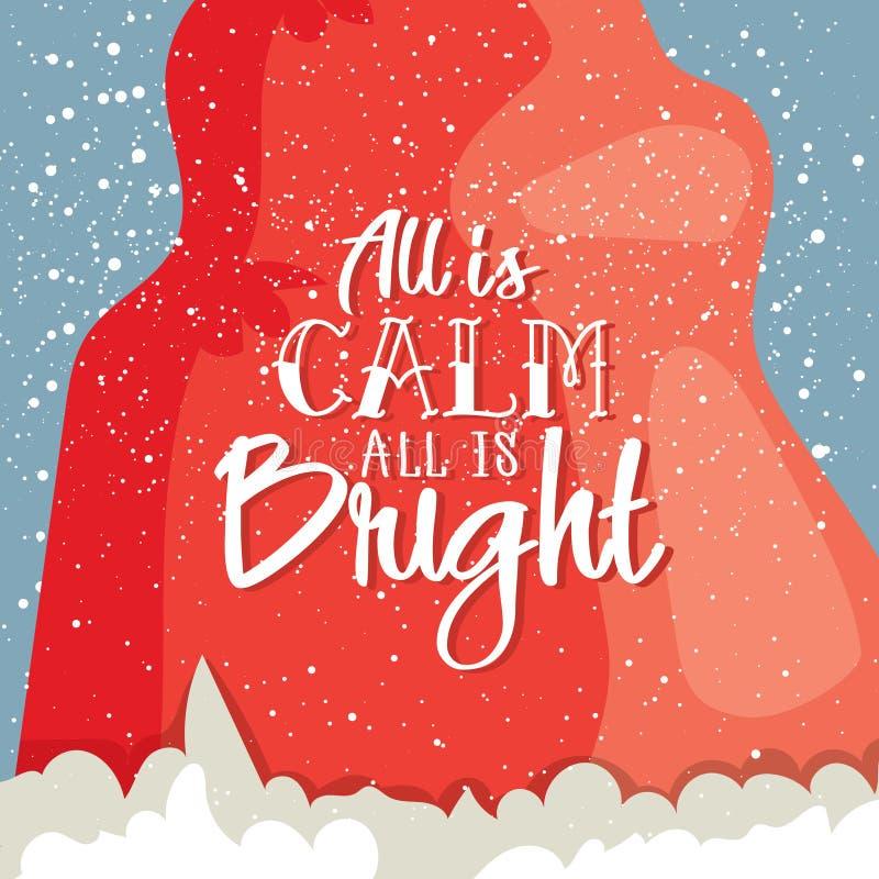 所有是安静所有是的明亮的明信片 冬天与圣诞老人` s帽子和现代字法的贺卡 也corel凹道例证向量 向量例证