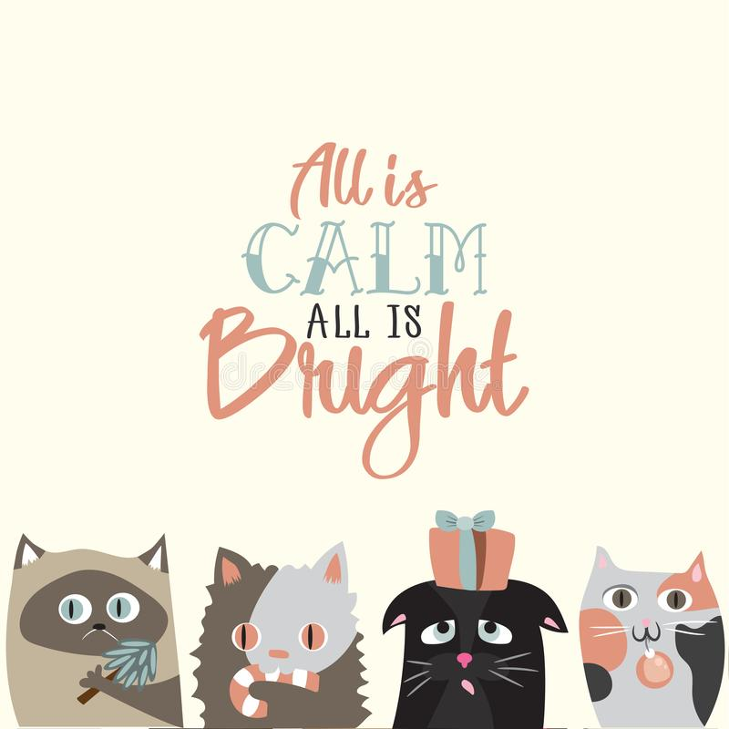 所有是明亮的所有是安静 假日与逗人喜爱的猫c的贺卡 皇族释放例证