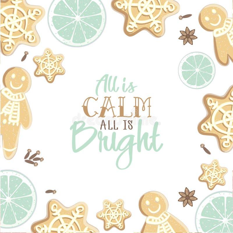 所有是明亮的所有是安静 假日与gingerbrea的贺卡 向量例证