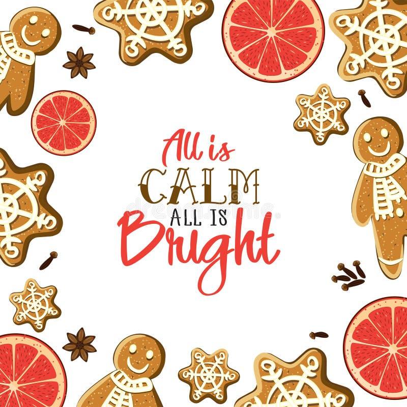 所有是明亮的所有是安静 假日贺卡用姜饼,香料,柑橘slicesand书法元素 库存例证