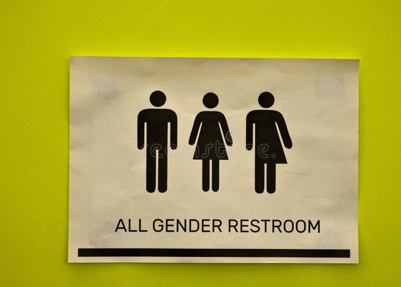 所有洗手间标志在卫生间旁边的 免版税库存图片