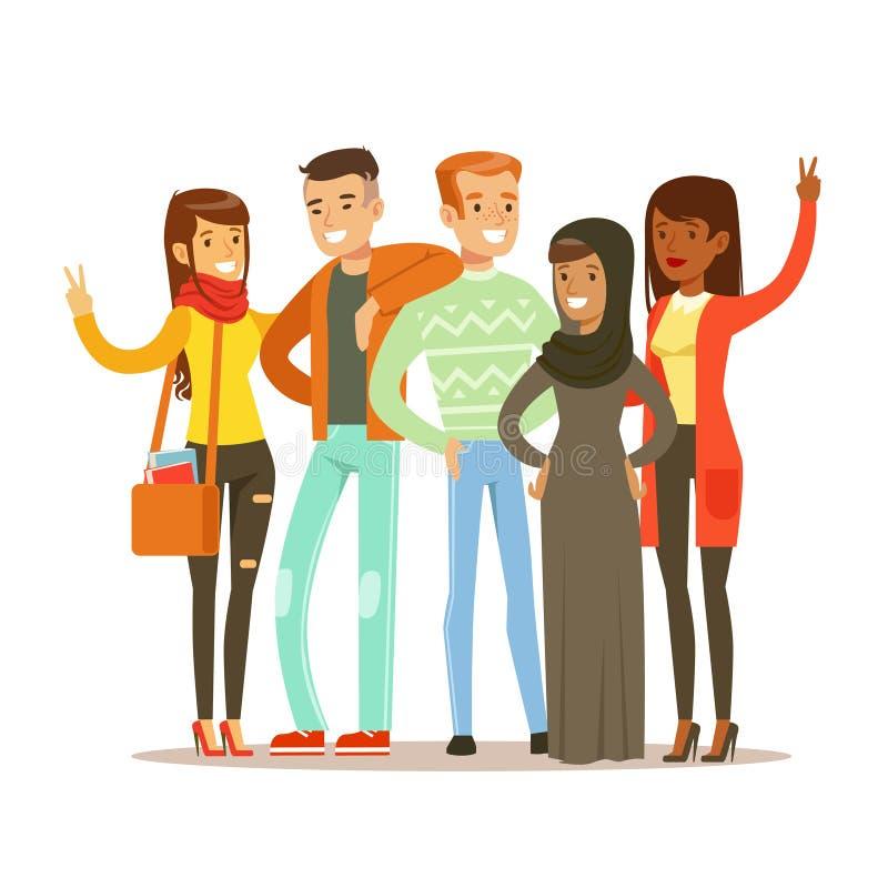 从所有环球站立的年轻朋友摆在为照片,愉快的国际友谊传染媒介动画片 向量例证